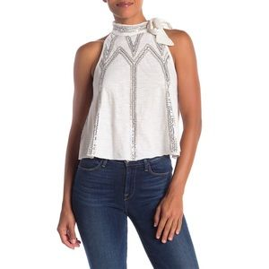 Free People NWT Sequin Glitter City Tie Neck Tank